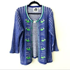 STORYBOOK KNITS Whale of A Day Cardigan Sweater
